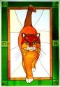 Artistic Gifts Art Glass V582 Cat Tabby Green Border Vertical Panel