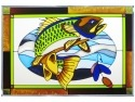 Silver Creek Art Glass V584 Fish Walleye Panel