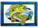 Silver Creek Art Glass V585 Fish Bass Panel