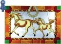 Artistic Gifts Art Glass V587 Horse with Colt Horizontal Panel