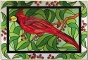 Artistic Gifts Art Glass V590 Cardinal with Berries Horizontal Panel