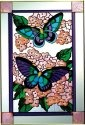 Artistic Gifts Art Glass V592 Blue on Hydrangea Vertical Panel