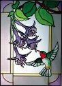 Artistic Gifts Art Glass W207 Hummingbird in Border Vertical Panel
