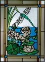 Silver Creek Art Glass W211 Dragonfly and Waterlilies Vertical Panel