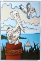 Artistic Gifts Art Glass W218 Shorebird Pelican Panel