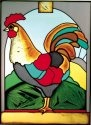 Artistic Gifts Art Glass W219 Rooster Sunrise Vertical Panel
