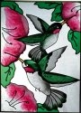 Artistic Gifts Art Glass W220 Hummingbird Pair Vertical Panel