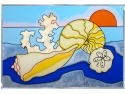Silver Creek Art Glass W221 Seascape Seashells Panel