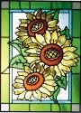 Silver Creek Art Glass W235 Sunflower Trio Vertical Panel