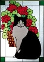 Artistic Gifts Art Glass W248 Cat with Red Geraniums Vertical Panel