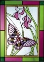 Artistic Gifts Art Glass W249 Plum Green Border Vertical Panel