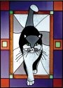Artistic Gifts Art Glass W253 Cat Grey Purple Border Vertical Panel