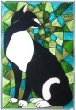 Artistic Gifts Art Glass W255 Cat Panel