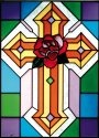 Silver Creek Art Glass W266 Rose Cross Vertical Panel