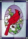 Artistic Gifts Art Glass W280 Cardinal in Oval Vertical Panel