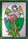 Artistic Gifts Art Glass W281 Flamingo in Oval Vertical Panel