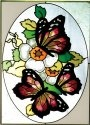 Artistic Gifts Art Glass W283 Butterflies Three Vertical Panel