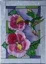 Artistic Gifts Art Glass W309 Hummingbird & Hibiscus Vertical Panel