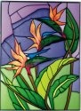 Silver Creek Art Glass W327 Bird of Paradise Vertical Panel