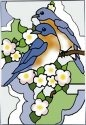 Artistic Gifts Art Glass W331 Bluebird & Blossom Vertical Panel