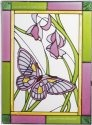 Artistic Gifts Art Glass WS249 Butterfly Purple Flowers Vertical Panel