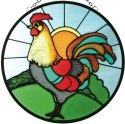 Artistic Gifts Art Glass X002 Rooster Round Suncatcher