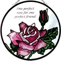 Silver Creek Art Glass X029 Rose Round Suncatcher