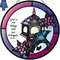Silver Creek Art Glass X030 God Our Refuge Round Suncatcher