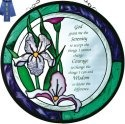 Silver Creek Art Glass X035 Serenity Prayer Round Suncatcher