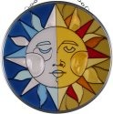 Silver Creek Art Glass X053 Sun Moon Round Suncatcher