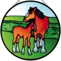 Artistic Gifts Art Glass X060 Horse with Colt Round Suncatcher