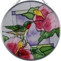 Artistic Gifts Art Glass X070 Hummingbird & Hibiscus Round Suncatcher