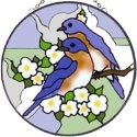 Artistic Gifts Art Glass X076 Bluebird & Blossom Round Suncatcher