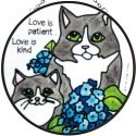 Artistic Gifts Art Glass X100 Cat Love is Patient Round Suncatcher