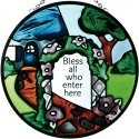Silver Creek Art Glass X101 Bless All Who Enter Round Suncatcher