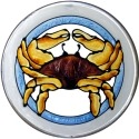 Silver Creek Art Glass X419 Crab Dungeness Round Suncatcher