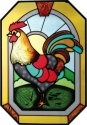 Artistic Gifts Art Glass Z103 Rooster Octagon
