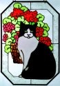 Artistic Gifts Art Glass Z122 Cat with Red Geraniums Octagon