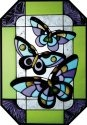 Artistic Gifts Art Glass Z123 Butterfly Octagon