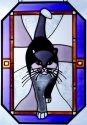 Artistic Gifts Art Glass Z156 Cat Grey Purple Border Octagon