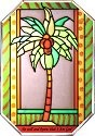 Artistic Gifts Art Glass ZS154 Palm Tree Octagon