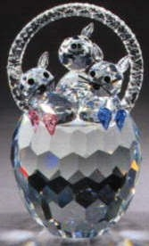 Estate Items 68237 Asfour Crystal 3 Cats in Basket