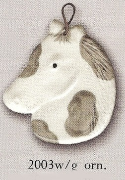August Ceramics 2003WG White and Gray Ornament