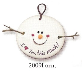 August Ceramics 2009I Snowball Ornament