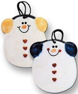 August Ceramics 2075E Round Snowman with earmuffs Ornament