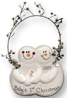 August Ceramics 2079C Baby's 1st Christmas and date Ornament