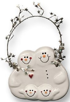 August Ceramics 2081 with 2 snowballs Ornament