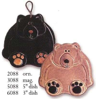 August Ceramics 2088BL Black Bear Ornament