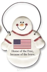 August Ceramics 2099FRE USA Flag Ornament