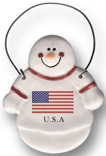 August Ceramics 2099USA USA Flag Ornament